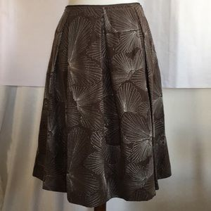 Talbots Brown Skirt with Silver Thread